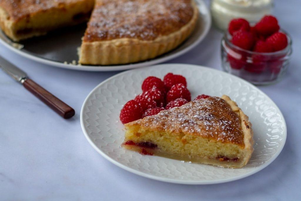 Bakewell Tart slice with raspberries