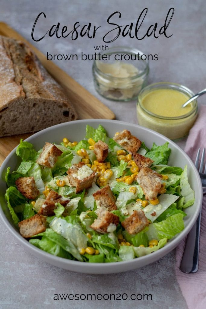 Caesar Salad with Brown Butter Croutons with text