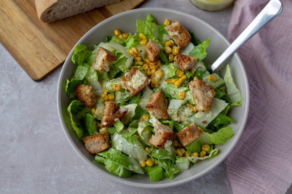 Caesar Salad with Brown Butter Croutons with creamy dressing