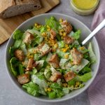 Caesar Salad with Brown Butter Croutons with sauteed corn