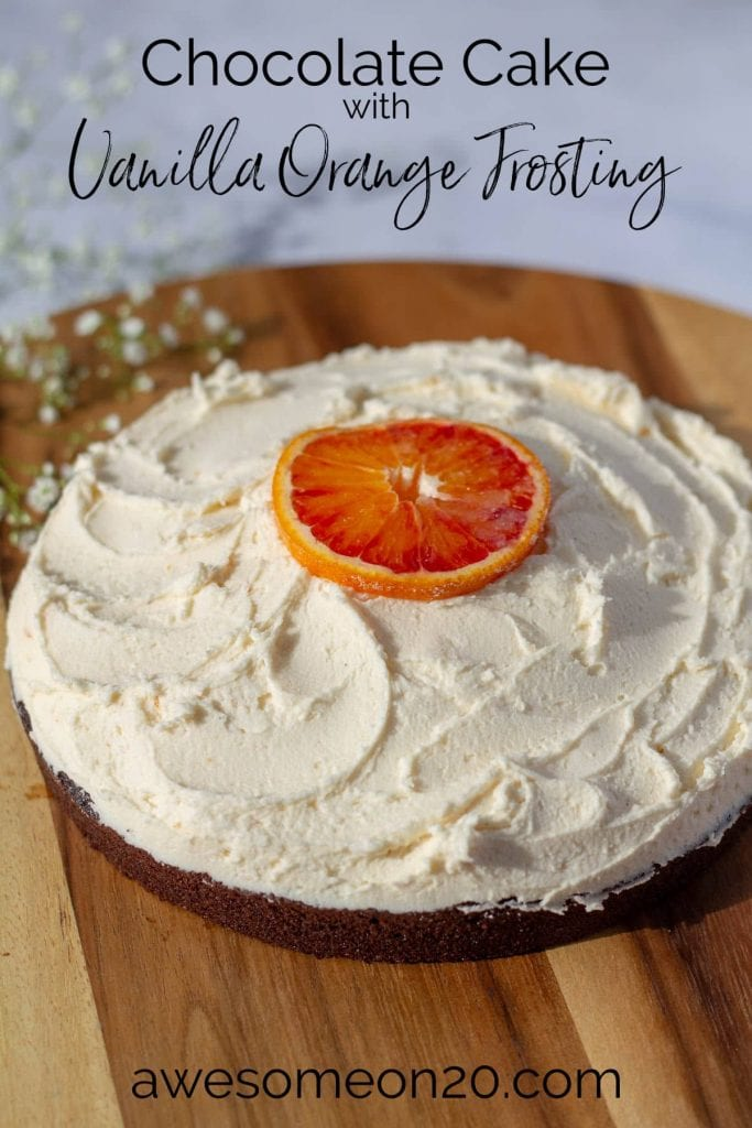 Chocolate Cake with Vanilla Orange Frosting with text