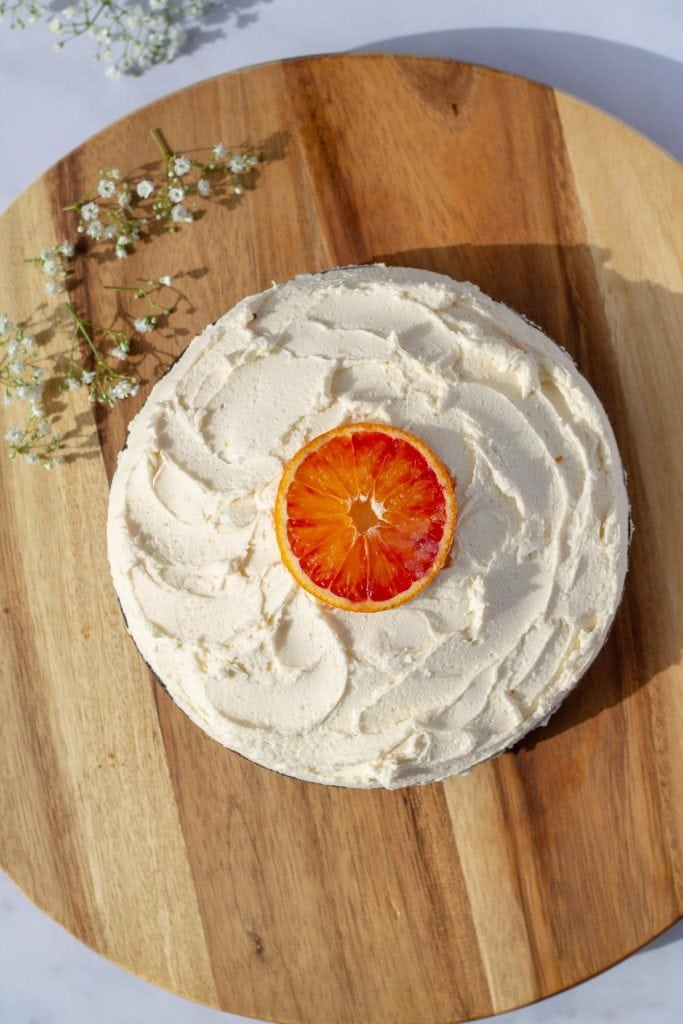 Chocolate Cake with Vanilla Orange Frosting with blood orange