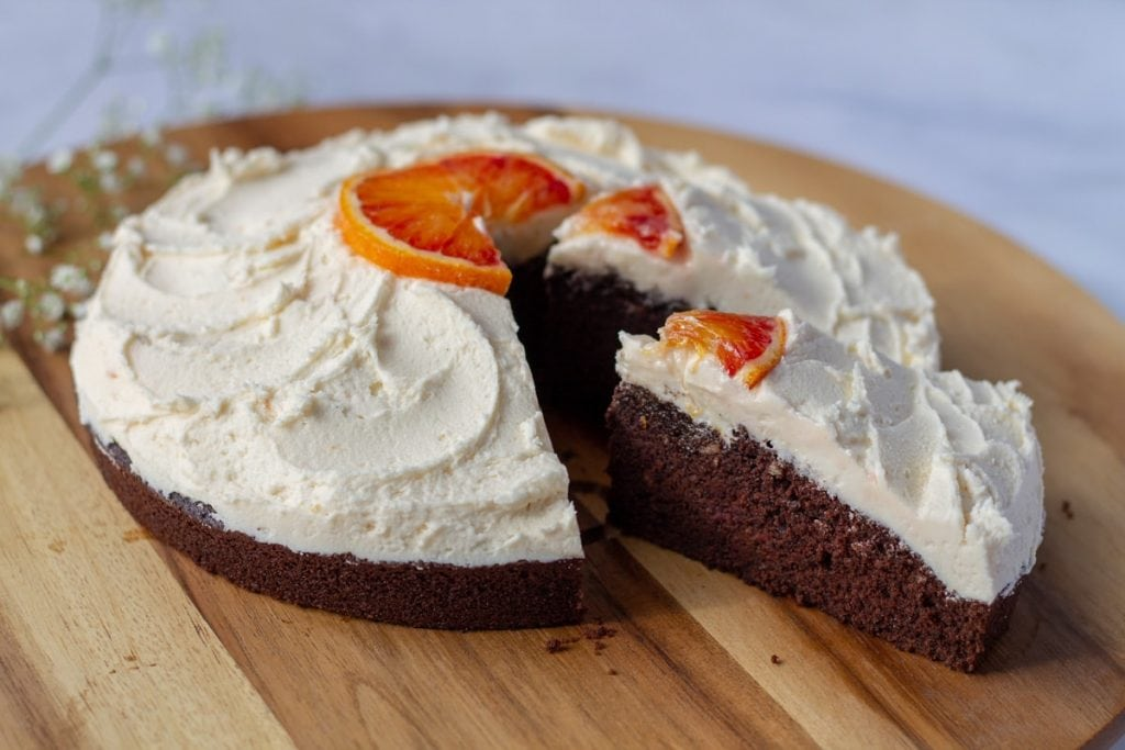 Chocolate Cake with Vanilla Orange Frosting sliced