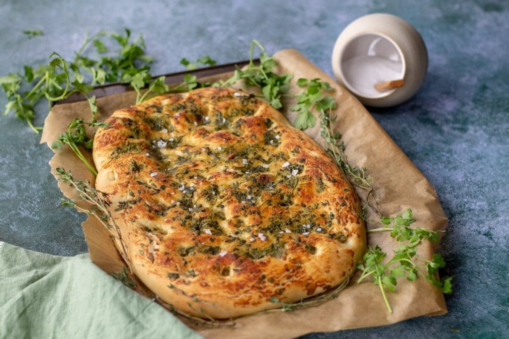 Garlic & Herb Focaccia Bread with fresh herbs