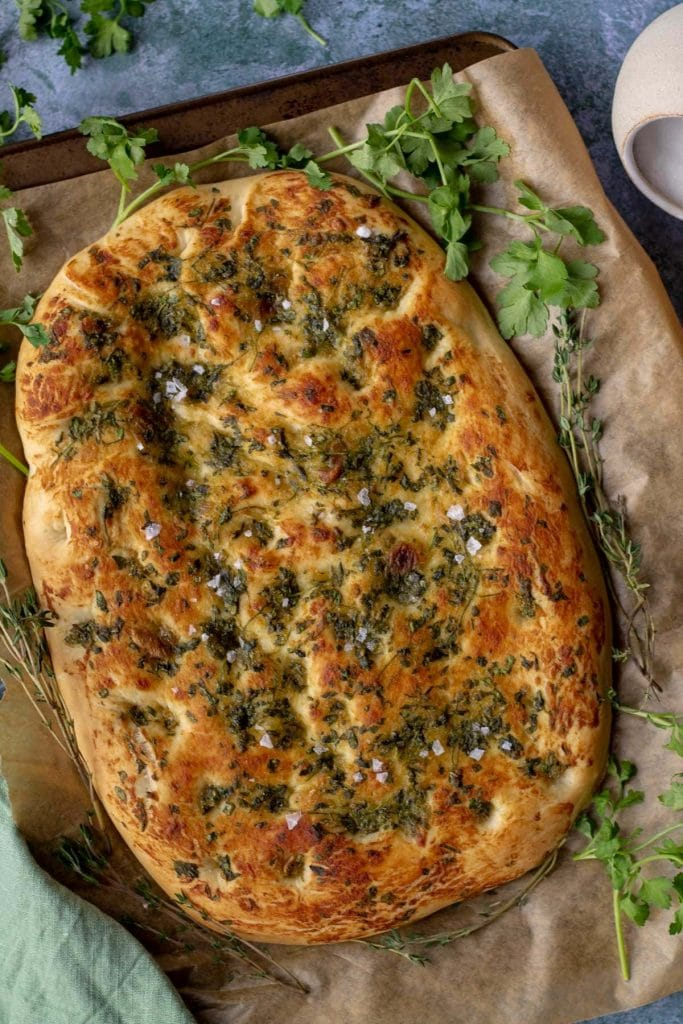 Garlic & Herb Focaccia Bread whole