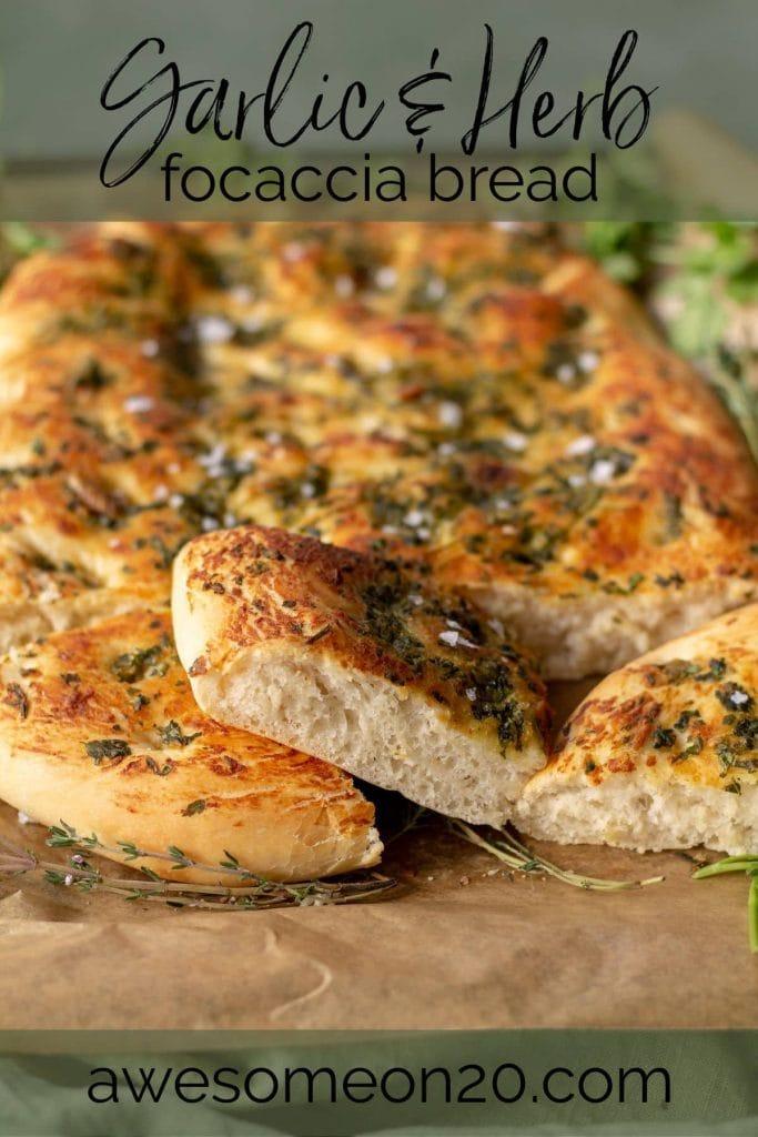 Garlic & Herb Focaccia Bread with text