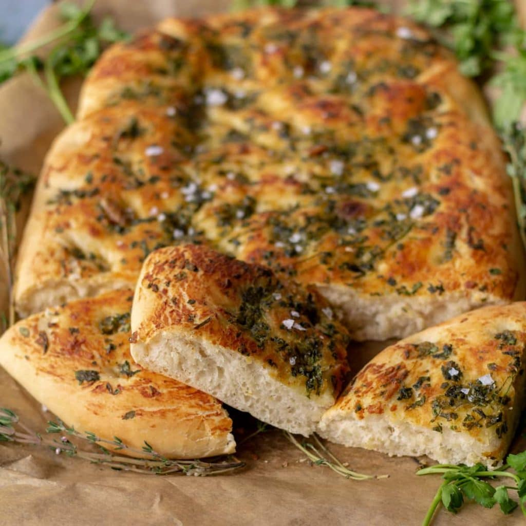 Garlic & Herb Focaccia Bread sliced