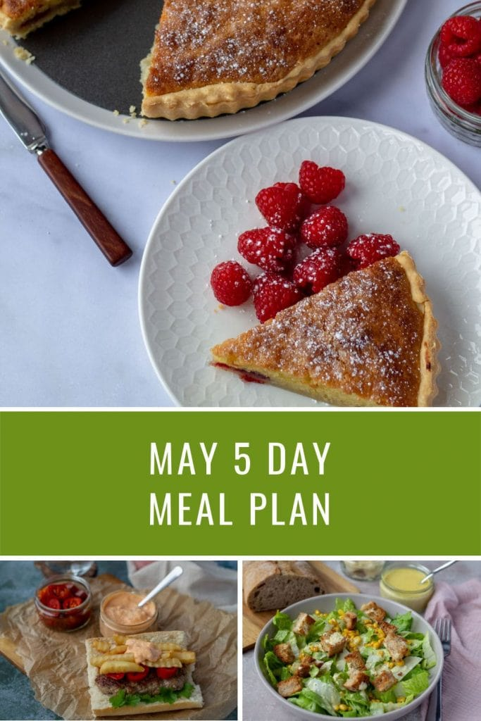 May 5 Day Meal Plan with Bakewell Tart, Mitraillette, and Caesar Salad