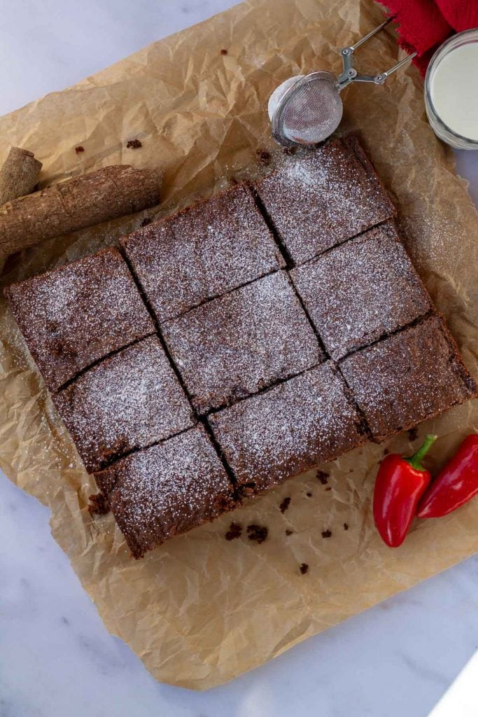 Mexican Brownies with cayenne and cinnamon
