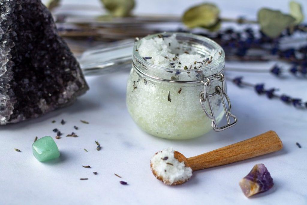 Salt Scrub Recipe in a jar with crystals