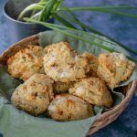 Bacon Goat Cheese & Green Onion Biscuits on green linen