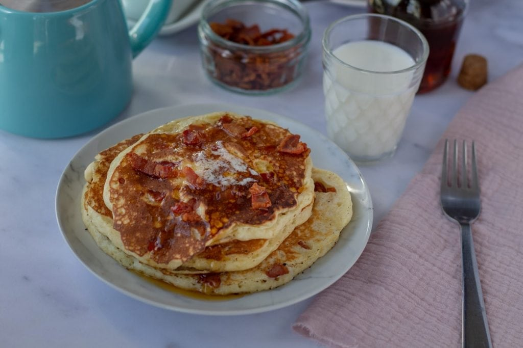 Bacon Pancakes with syrup