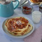 Bacon Pancakes with milk and a teapot