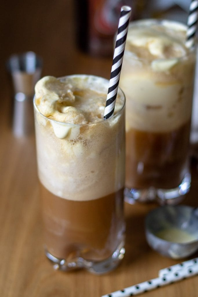 Boozy Root Beer Float with striped straw