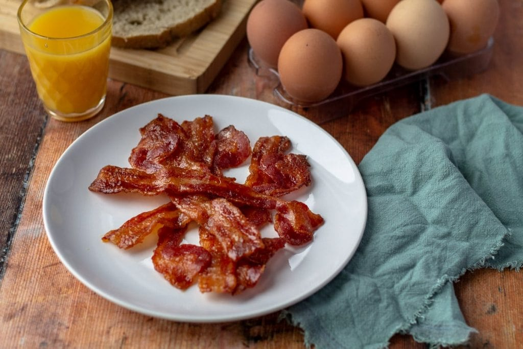 Cayenne Candied Bacon and eggs