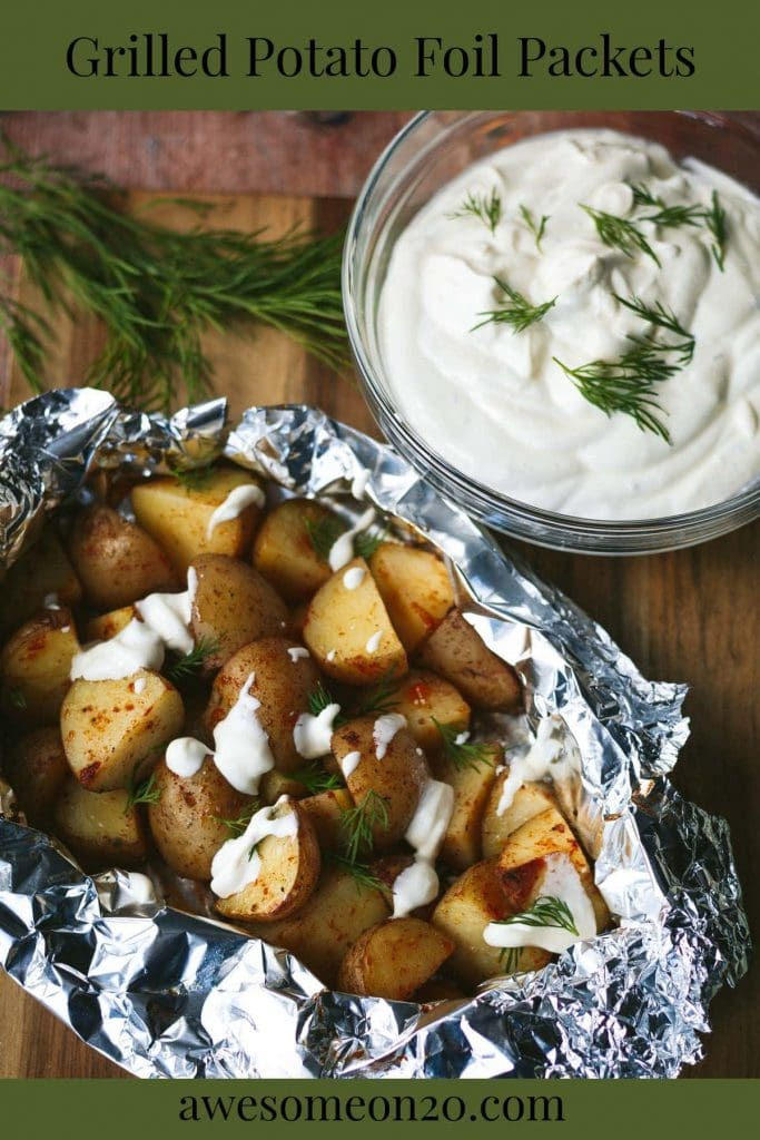 Grilled Potato Foil Packets with text