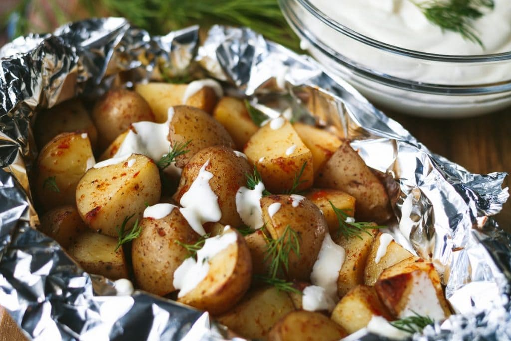 Grilled Potato Foil Packets with lemon dill creme fraiche