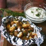 Grilled Potato Foil Packets with creme fraiche