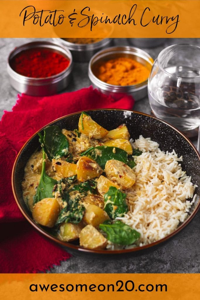 Potato & Spinach Curry with text