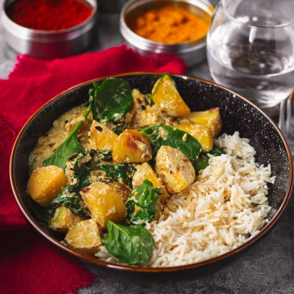 Potato & Spinach Curry with jasmine rice