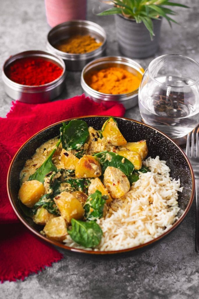 Potato & Spinach Curry with rice and spices