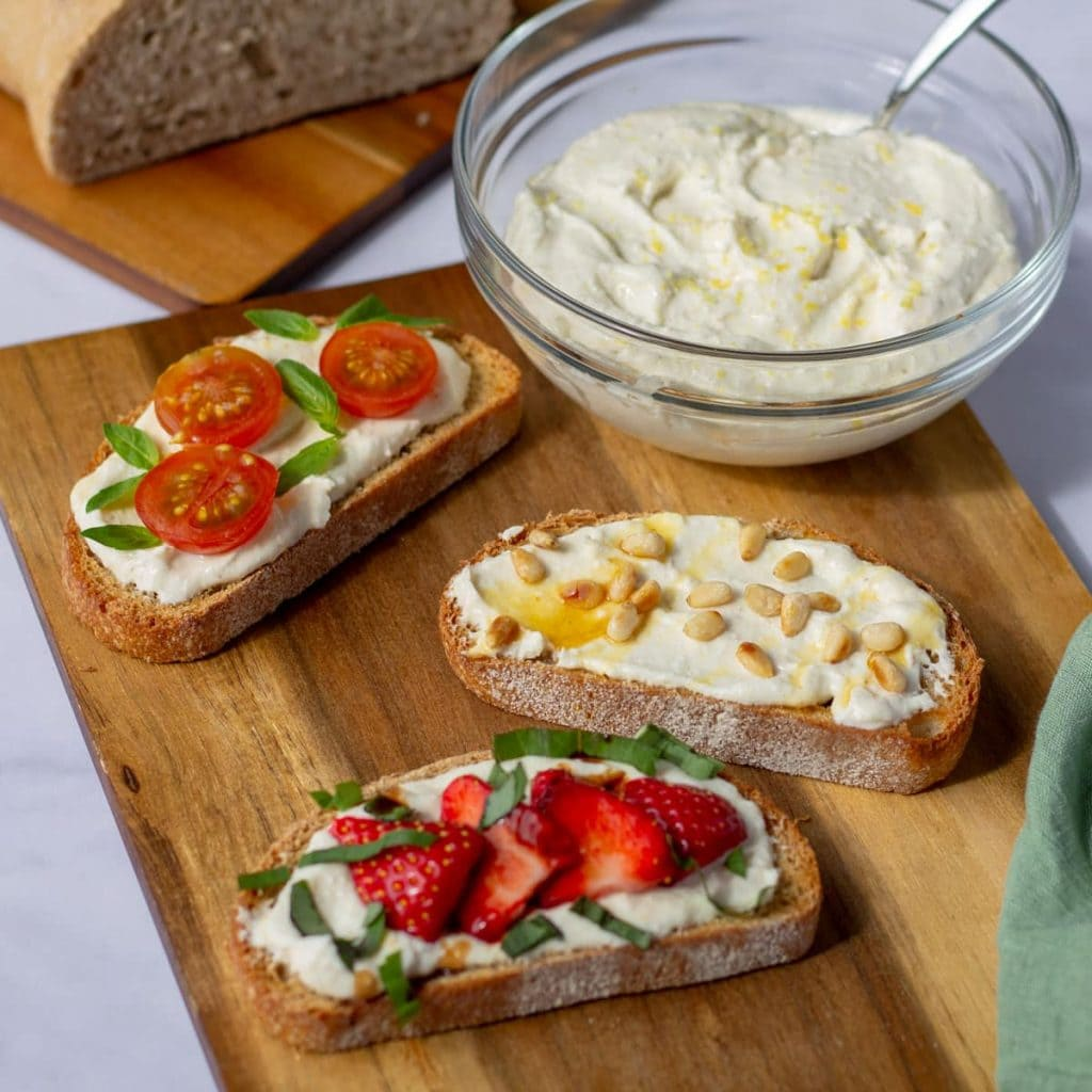 Whipped Feta on Toast with pine nuts and honey