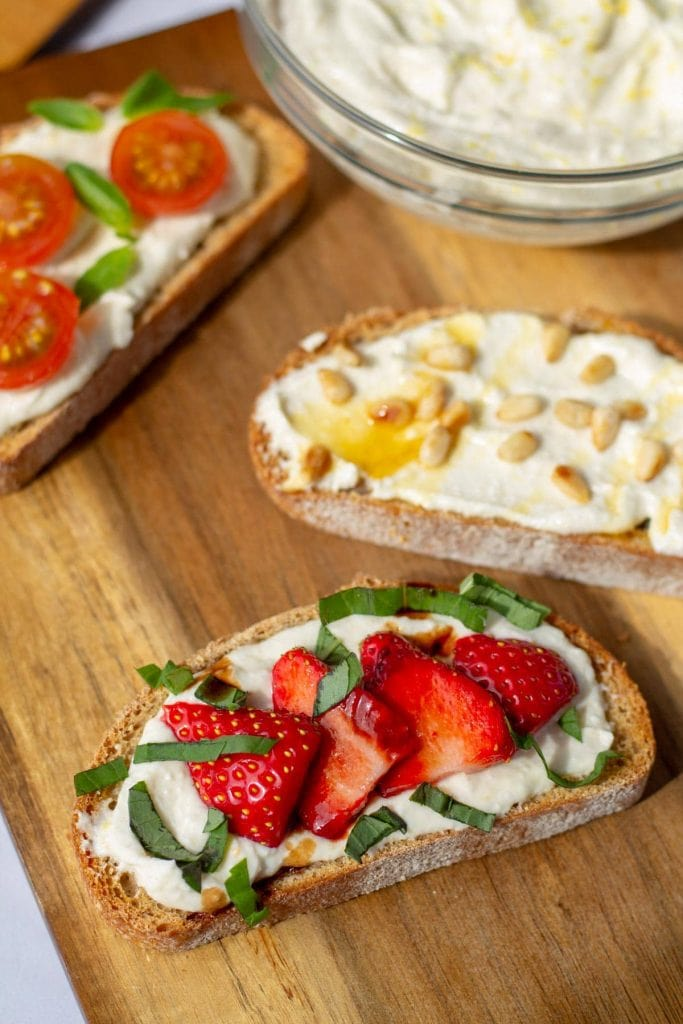 Whipped Feta on Toast with strawberries, basil, and balsamic