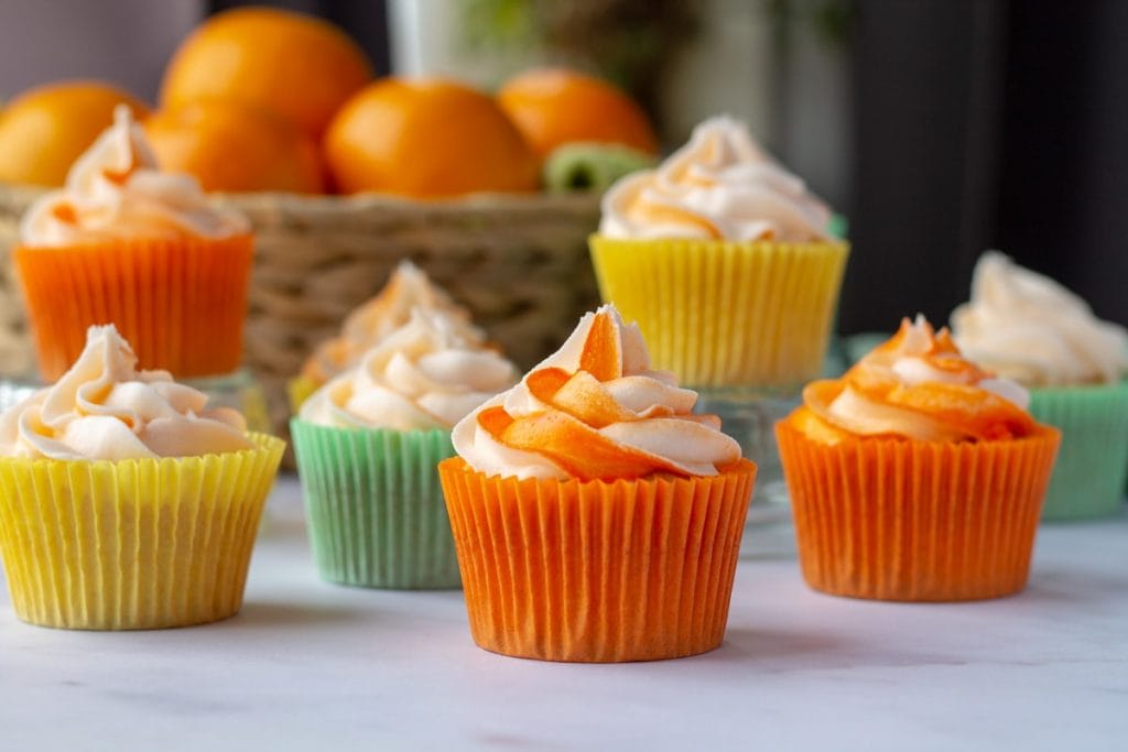 Citrus Cocktail Cupcakes with orange frosting