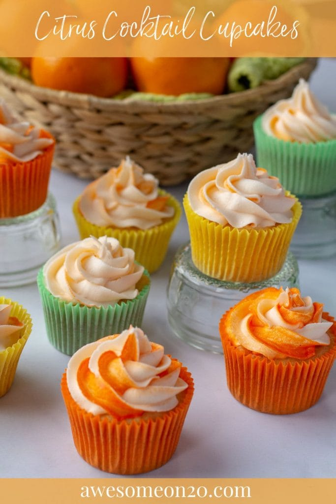 Citrus Cocktail Cupcakes with text