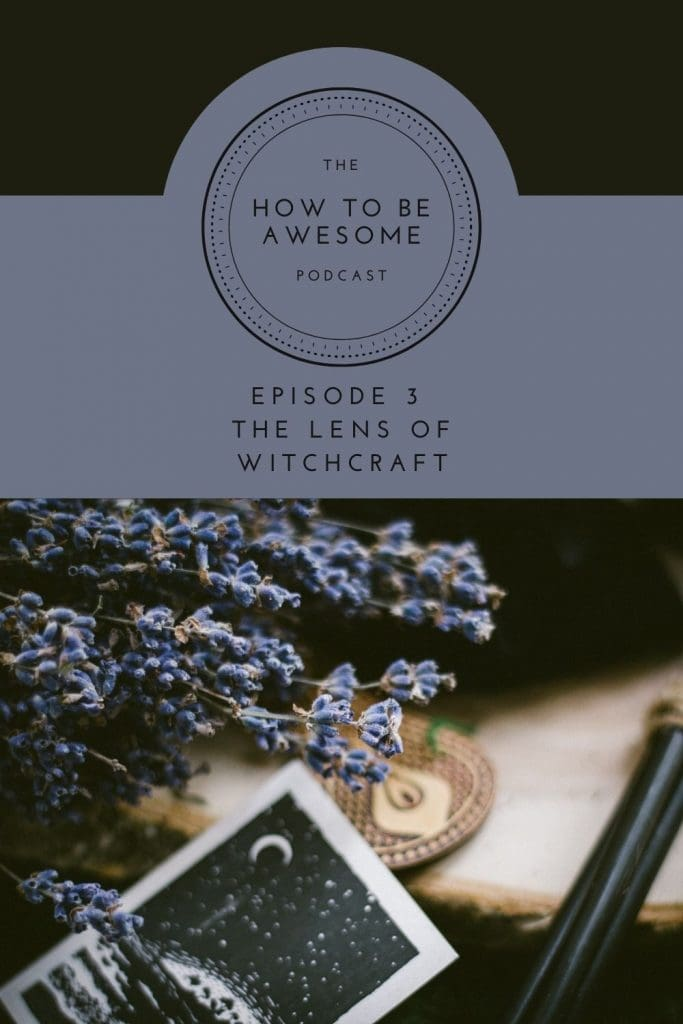 Text - The Lens of Witchcraft over photo of lavendar flowers and an oracle card.