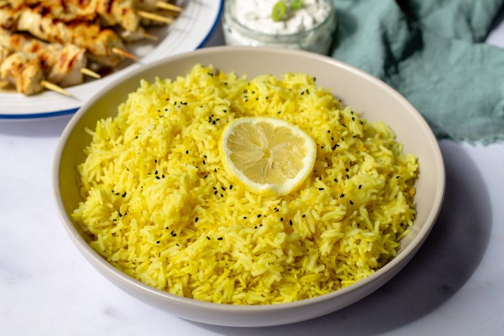 Lemon Rice in a gray bowl