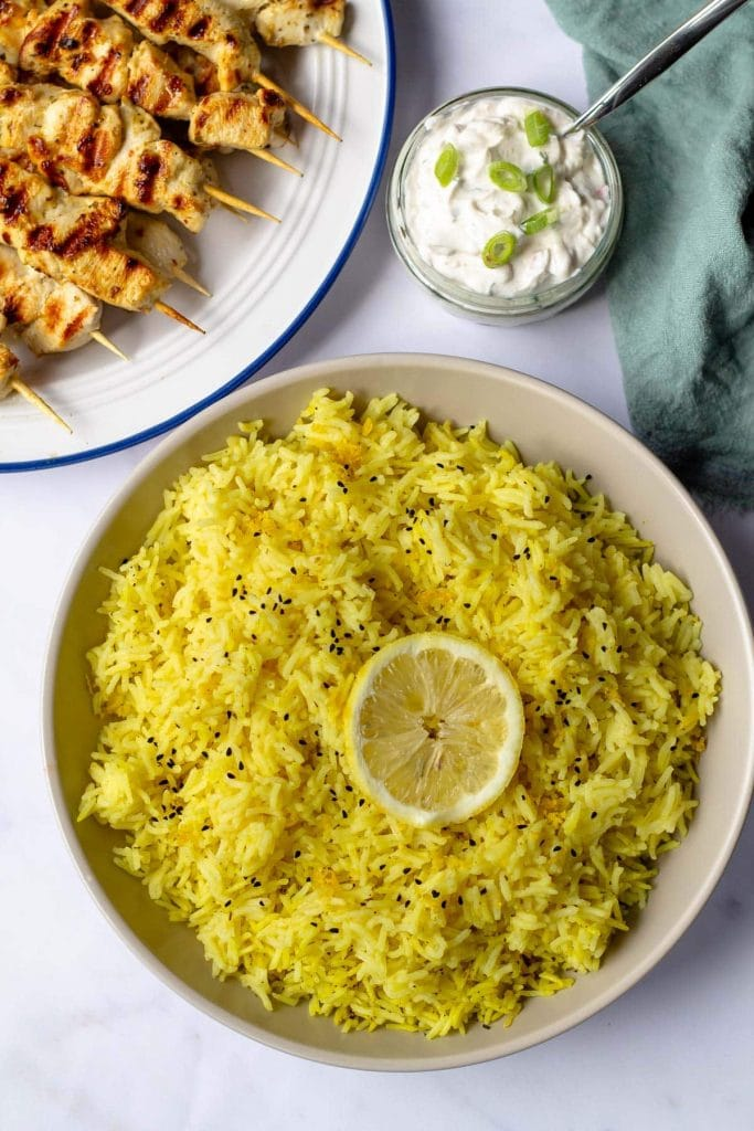 Lemon Rice with grilled chicken skewers