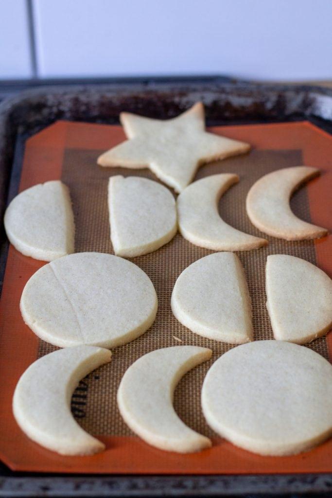 baked sugar cookies on a baking sheet