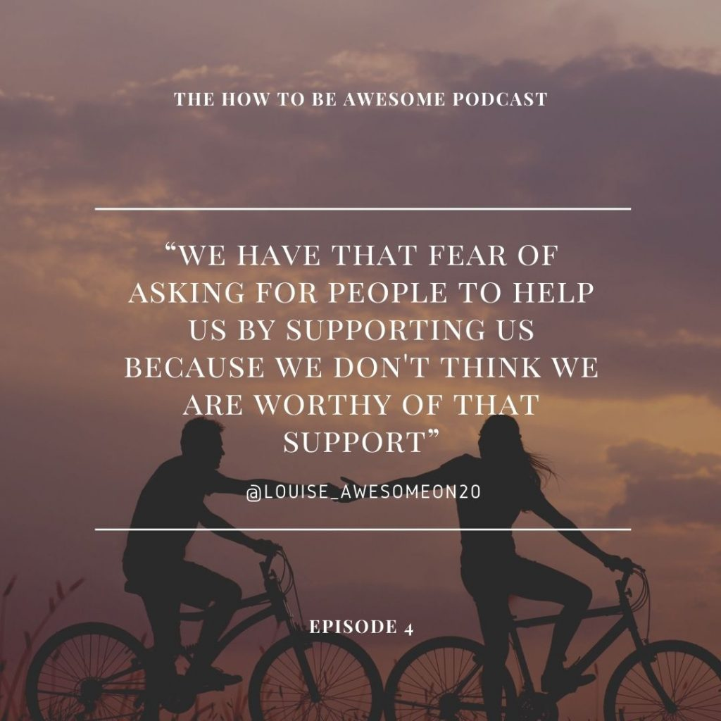 """""""We have thta fear of asking for people to help us by supporting us because we don't think we are worthy of that support"""" overlaying two people on bicycles at sunset"""
