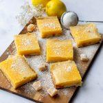 Lemon & Ginger Bars on a wooden board