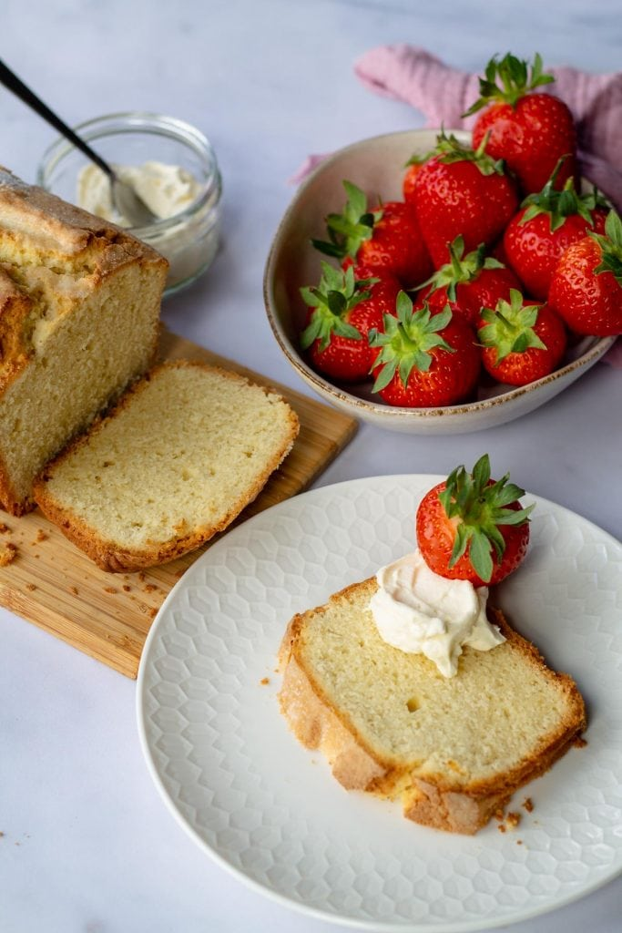 Madeira Cake with strawberries and whipped cream