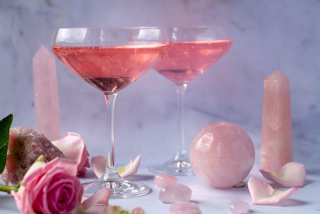 Rose Quartz Cocktail in coupe glasses