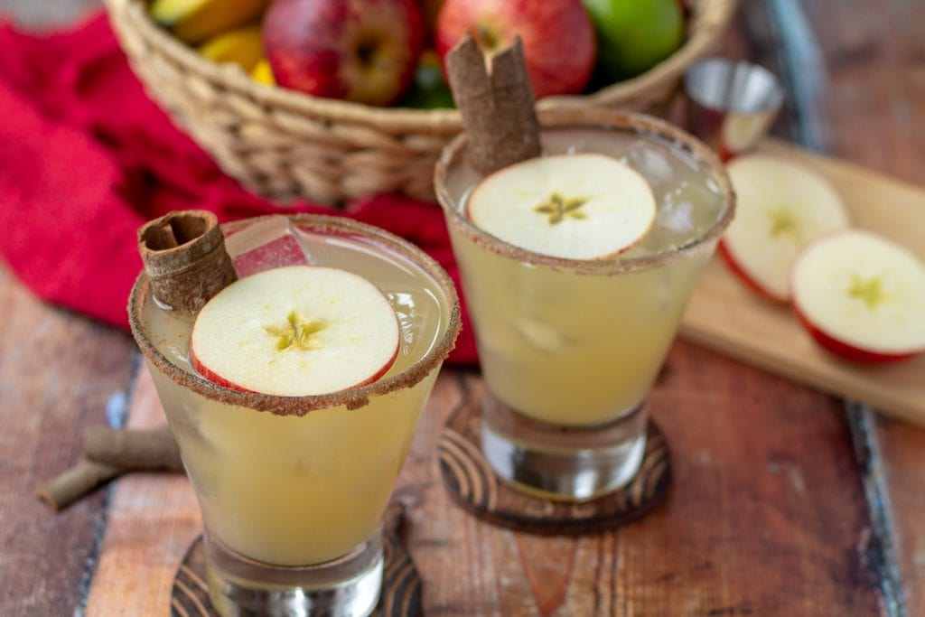Apple Margarita with cinnamon sugar rim