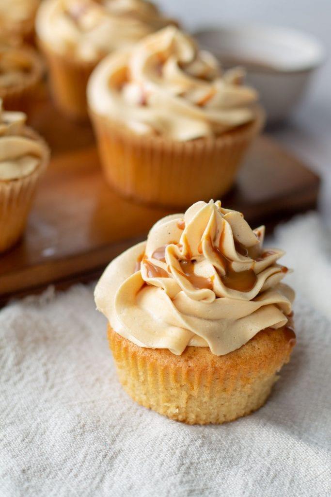 Caramel Cupcakes on a linen napkin