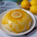 Microwave Lemon Cake with a lemon slice on top