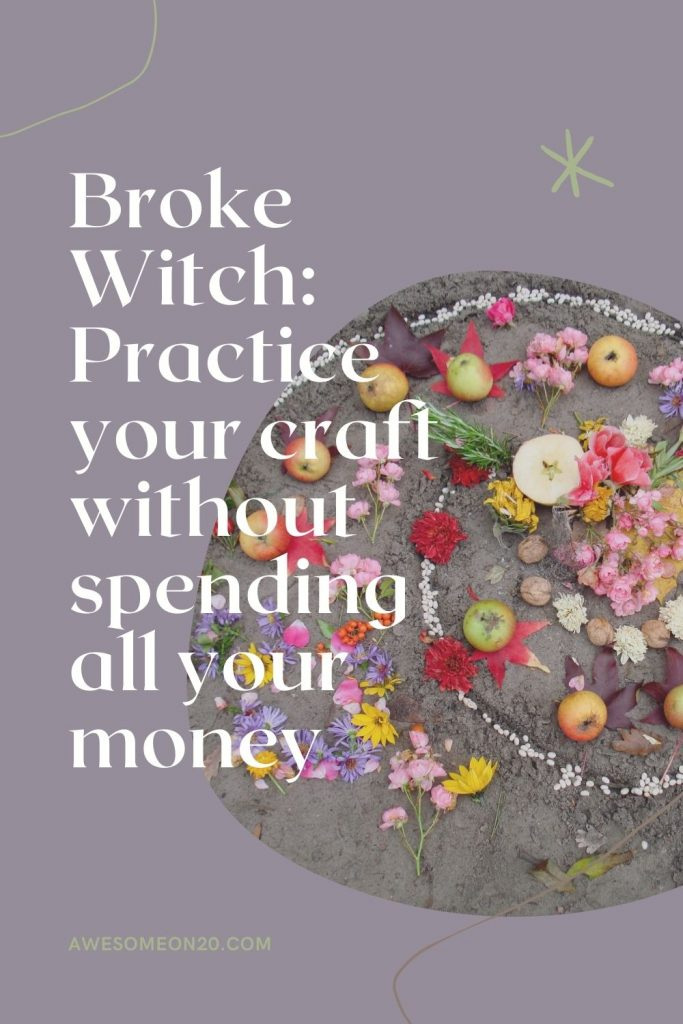 Text = Broke Witch: Practice your craft without spending all your money with flowers, apples and stones arranged in a spiral