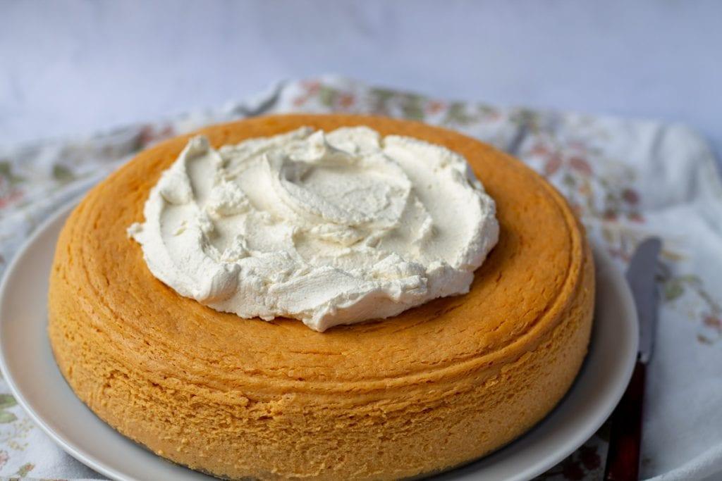 Pure Pumpkin Cheesecake on a white plate