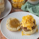 Sausage Egg & Cheese Biscuit with Apple Butter with the top off