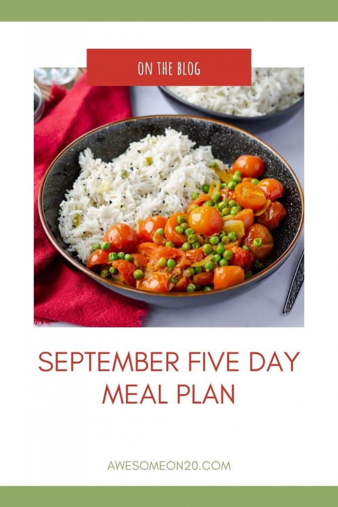 September Five Day Meal Plan text with vegan tomato curry in a black bowl