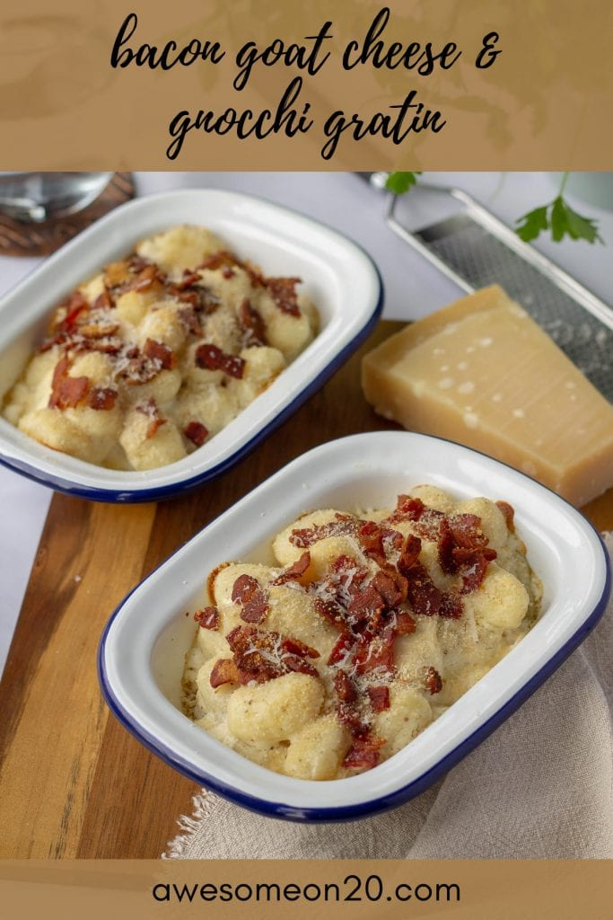Bacon Goat Cheese & Gnocchi Gratin with text